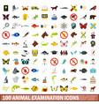 100 animal examination icons set flat style vector image vector image