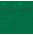 Alphabet pseudo 3d letters on a green vector image