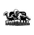 american football logo media black and white vector image