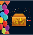 april fools day box star balloons celebration vector image vector image