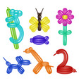 balloon animals and flower set vector image