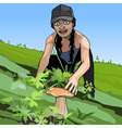 cartoon girl found a mushroom in the grass vector image vector image