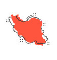 cartoon iran map icon in comic style iran sign vector image vector image