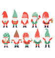 christmas dwarfs funny fabulous gnomes in red vector image
