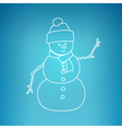 Christmas Snowman on a Blue Background vector image vector image