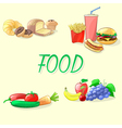 Colorful food Fast food vegetables fruits and vector image vector image
