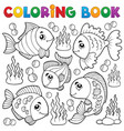 coloring book various fish theme 1 vector image vector image