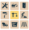 construction icons set with construction works vector image vector image
