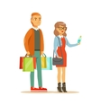 Couple With Multiple Clothing Outlet Bags Shopping vector image vector image