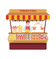 fish market with sellers and seafood vector image vector image