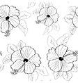 flower pink hibiscus seamless pattern vector image