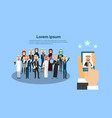 gadget hand holding choosing candidate from arab vector image vector image