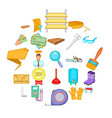 house reconstruction icons set cartoon style vector image vector image