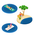 isometric freelance workers on beach vector image vector image