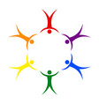 lgbt pride people in a circle holding hands symbol vector image