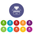 lingerie beautiful icons set color vector image vector image