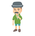 little caucasian boy with a fake mustache vector image