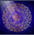 mandala gold round ornament pattern on blue vector image vector image