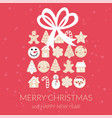 merry christmas gingerbread box greeting card vector image vector image