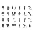 microphone shape black silhouette icons set vector image
