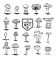 mushroom set hand drawn vector image vector image