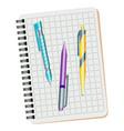 notebook blue pen purple pen vector image vector image