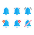 notification bell flat icons new message sign set vector image vector image