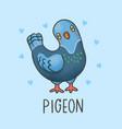pigeon bird cartoon hand drawn style vector image