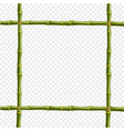 realistic bamboo poles or sticks border with vector image