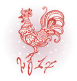 red decorative stylized rooster as a symbol of the vector image