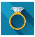 Ring with brilliant in flat design style vector image