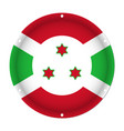 round metallic flag of burundi with screw holes vector image vector image