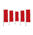 row of red vertical banner flags vector image vector image