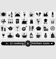 set cooking kitchen tools food and drinks vector image