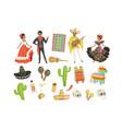 set cultural symbols mexico sombrero cactus vector image