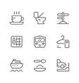 set line icons public navigation vector image vector image