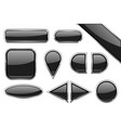 set of black glass buttons with metal frame vector image vector image
