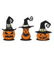 set scary halloween pumpkin in witch hats vector image vector image