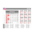 simple calendar 2018 - one year at a glance vector image vector image