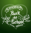 Welcome back to school background on chalkb vector image vector image