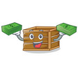 with money crate mascot cartoon style vector image