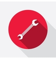 Wrench key icon Repair fix tool symbol Round red vector image vector image