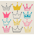 Set of cute cartoon crowns vector image