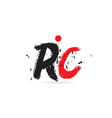 alphabet letter combination rc r c with grunge vector image vector image
