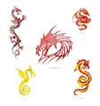 asia colored dragons sign set isolated vector image