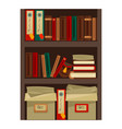 bookshelf with papers vector image vector image