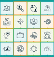 business icons set with identity card big idea vector image vector image