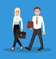 business woman and business man going to the vector image