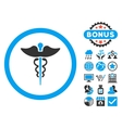 Caduceus Flat Icon with Bonus vector image vector image