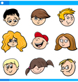cartoon children faces set vector image vector image